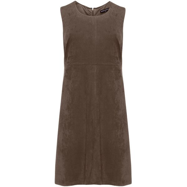 Manon Baptiste Khaki-Green Plus Size Faux suede shift dress (£130) ❤ liked on Polyvore featuring dresses, plus size, women's plus size dresses, plus size brown dress, flared skirt, plus size green dress and knee length dresses