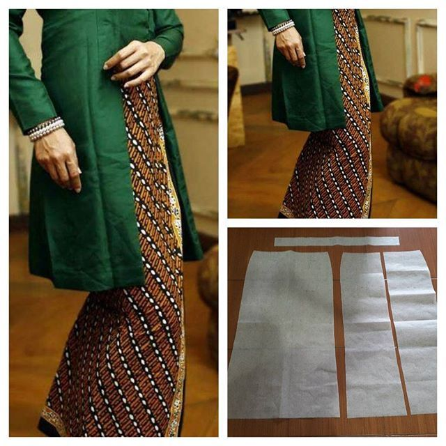 Sarong skirt pattern as bottom of kebaya/kutubaru tops