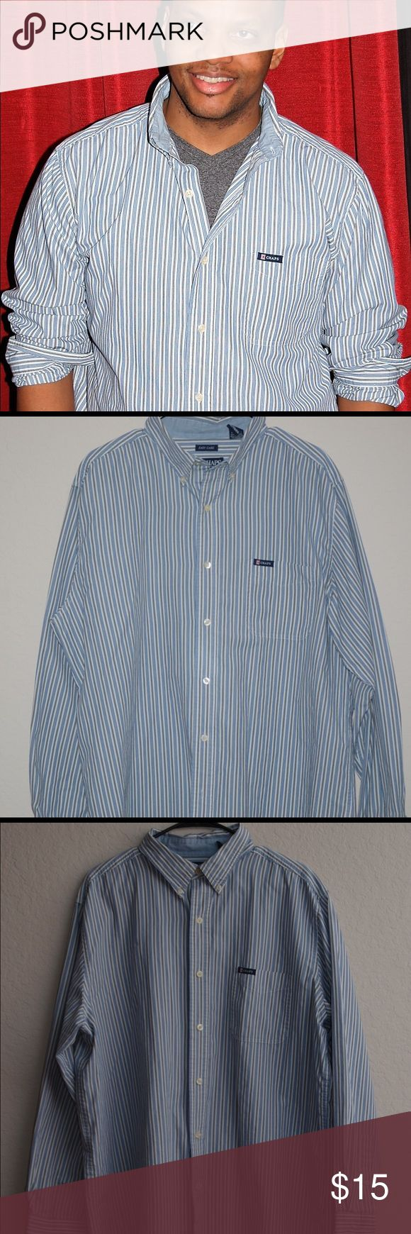 CHAPS striped button-down CHAPS easy-care Black and Blue button-down shirt.  Lightly used. Chaps Shirts Casual Button Down Shirts