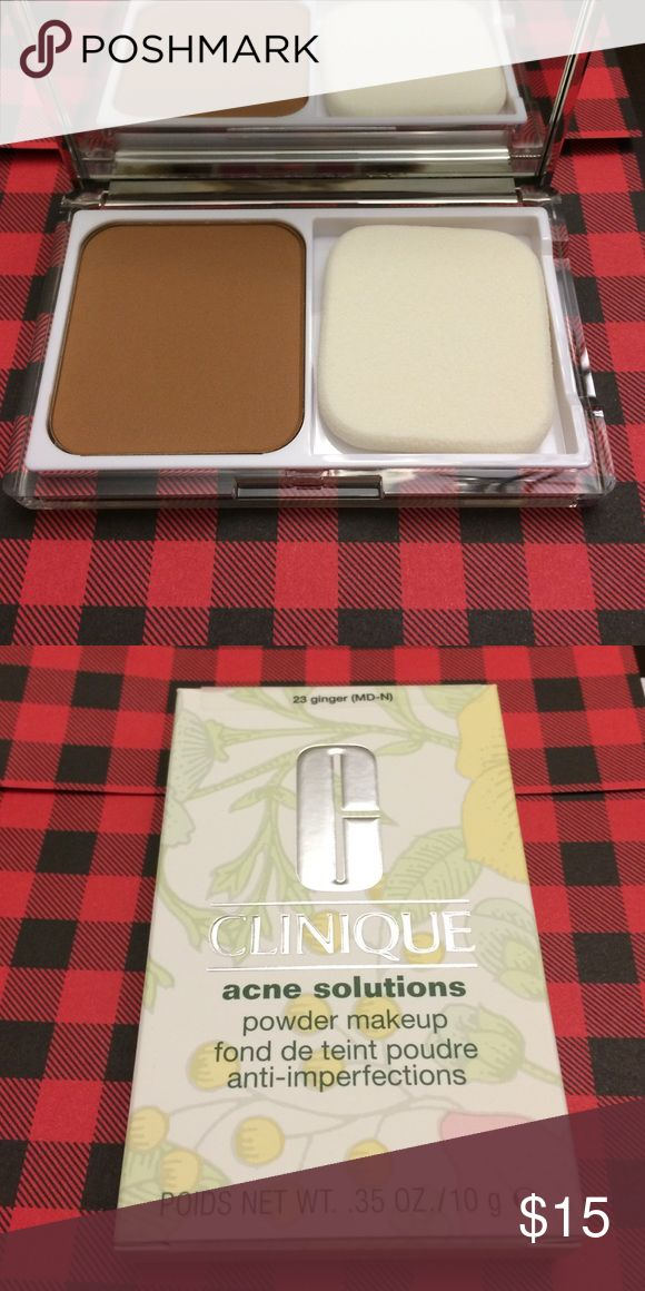 Clinique acne solutions powder makeup Brand new in box never used.  Color cream caramel for dry combination to oily skin  allergy tested 100 percent fragrance free sheer to moderate coverage natural matte finish. Skin perfecting makeup blends beautifully to help cover acne with a gentle touch. Works to control shine all day. Leaves skin looking fresh flawless all day oil free. Price is firm no trades color: 23 ginger Clinique Makeup Face Powder