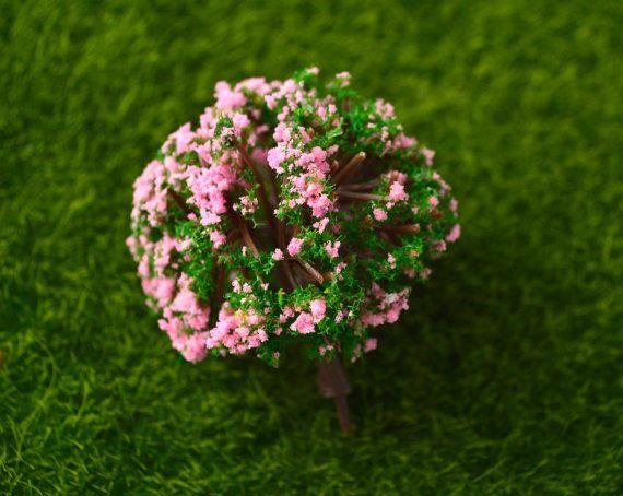 Pink Green Fluffy Miniature Tree Garden by AZRibbonsAndSupplies