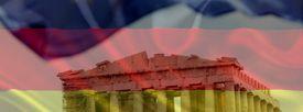 El Partenón de Atenas sobre la bandera alemana