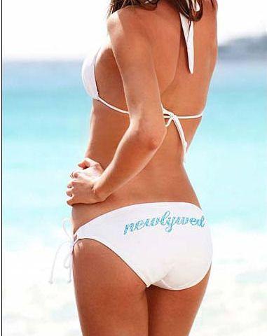 Newlywed Bikini - Miranda Kerr style white bikini with aqua crystals