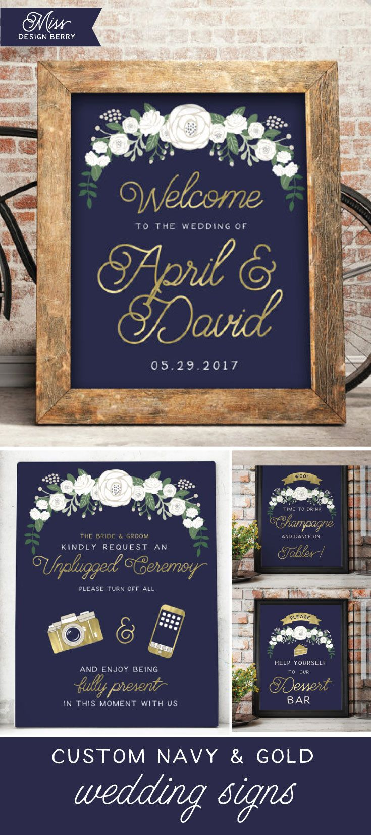 Shop unique and customized Navy and Gold wedding signs, along with 100's of other unique wedding items, only at Miss Design Berry!