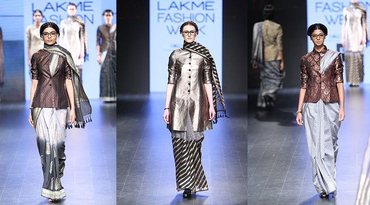 【Lakmé Fashion Week:Hemang Agarwal】 Metallic jackets paired with sarees. Yes, it is as beautiful as it sounds. Rich Banarsi bringing brocade to life on the runway with stellar pieces like short and long jackets, this show delivered a whole lot of vintage magic.