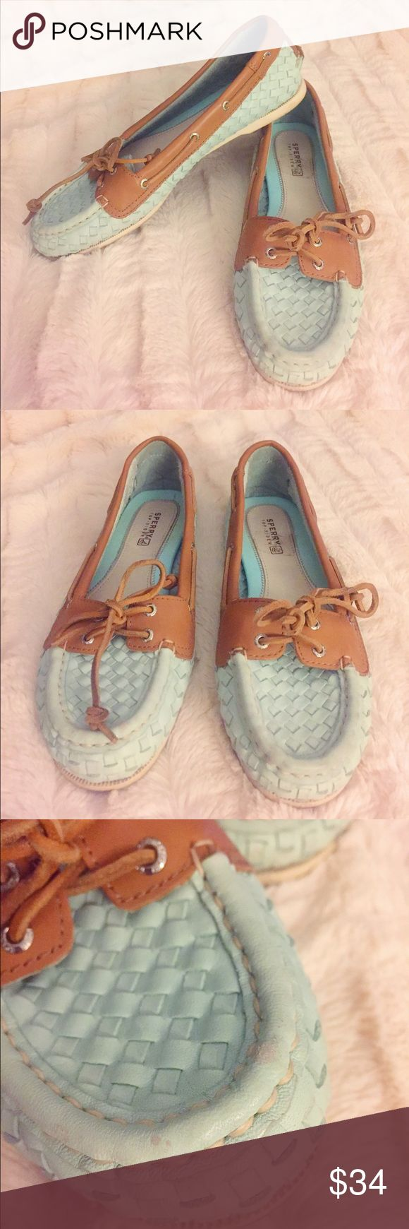 Mint Woven Leather Sperrys Loafers Super cute woven leather Sperrys in mint and light brown! Shoes are in good condition, just has some light  wear and scuffing on the front edge as seen in photo. These shoes are very comfortable. Perfect way to make a casual or work outfit that much cuter! 🌟Open to reasonable offers!🌟 Sperry Top-Sider Shoes Flats & Loafers