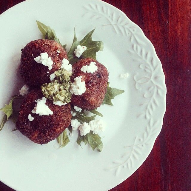 """""""Thanks to @rapidreset for this amazing recipe of cauliflower arancini. We LOVED it!! We topped it with goats feta and basil pesto.  Photo taken by @danandchristie on Instagram, pinned via the InstaPin iOS App! http://www.instapinapp.com (11/06/2014)"""