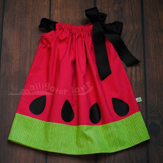 Watermelon Dress Adorable Pillow Case Dress Hot Pink and Green Black Summer Photoshoot dresses Watermelon Birthday Party on Etsy, $27.00