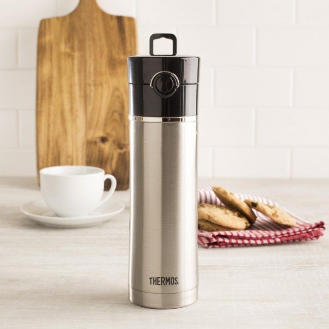 Keep your tea hot with this Genuine Thermos Brand vacuum insulated water bottle with tea infuser.