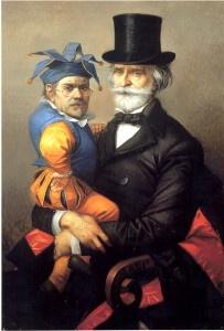Riccardo Tommasi Ferroni  Autoritratto con Verdi, 1997  olio su tela, cm. 70x100
