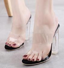 Womens Open Toe Clear Transparent Block High Heel Slingbacks Pumps Shoes