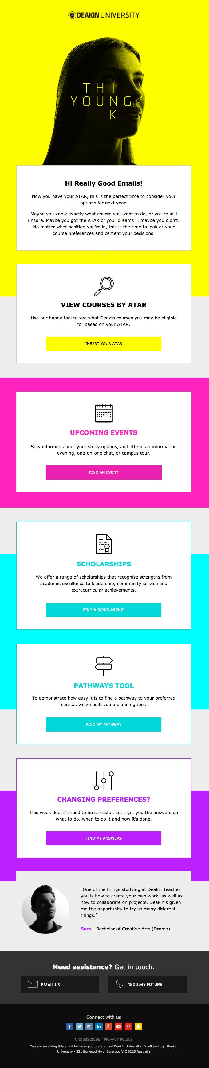 Congratulations, you made it! - Really Good Emails - Email design inspiration. Neon pink, neon blue, neon yellow. Bright, bold, modern. Line icons, iconography.