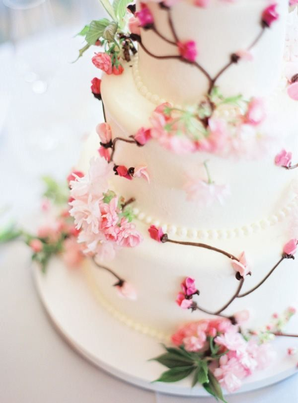 Cherry Blossom Wedding Cake Event Planning Design Kelley Lee Gin Of Picture Perfect Events