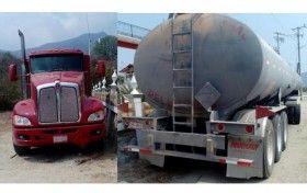 Recuperan camión tipo pipa con reporte de robo en la región del Istmo