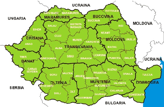 The Map of Romania