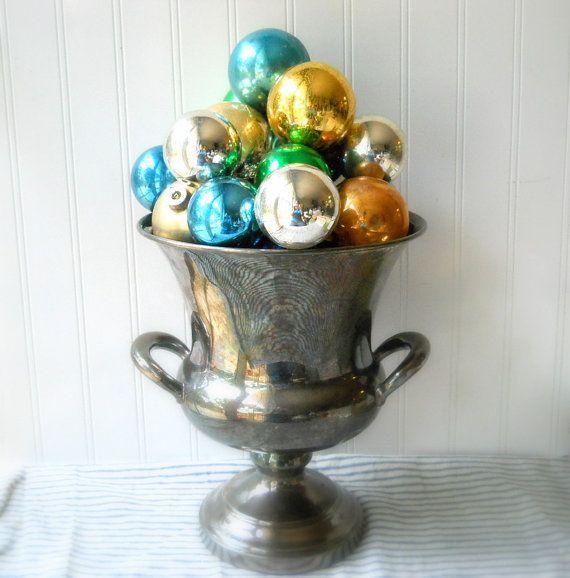 Shabby Vintage Shiny Brite & more glass Christmas ornaments by hopeandjoyhome