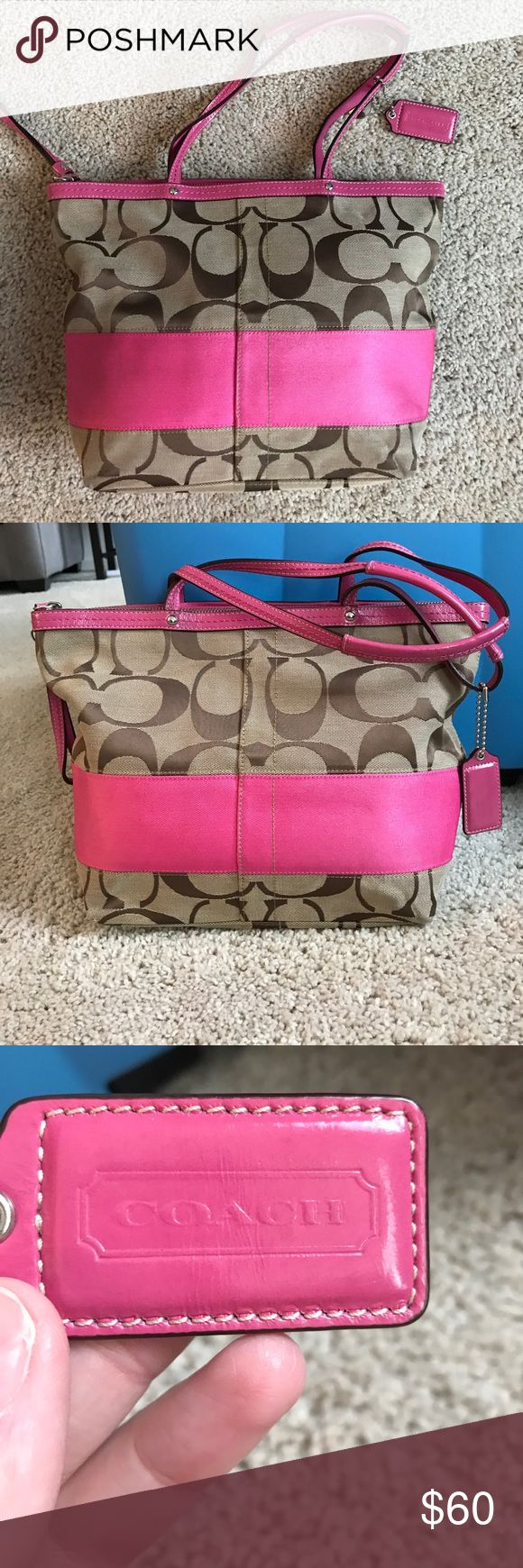 Authentic Tan/Pink Coach Purse Authentic Med/Large style Coach Purse in tan/pink. Purse is in nearly perfect condition only warn about 3 times Coach Bags Totes