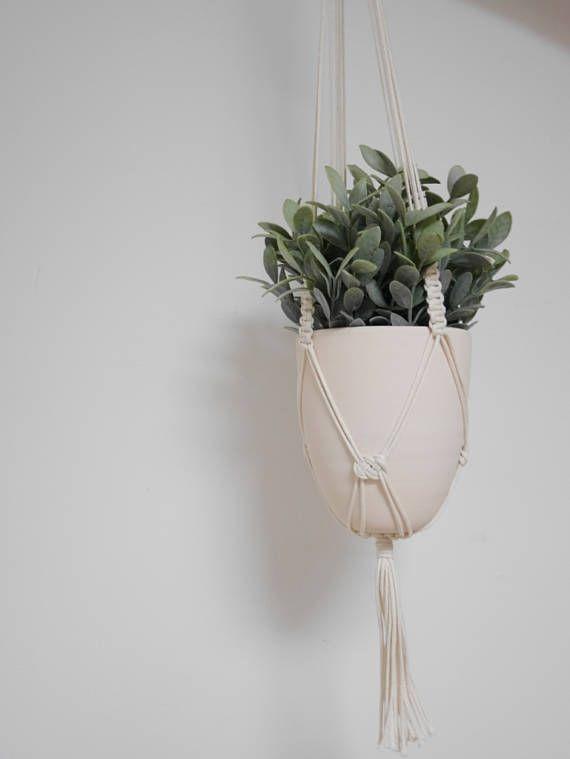 ISLAMORADA Suspension + Pot : Suspension pour Plantes en Macramé Noeud Plat Noeud Joséphine avec Pot en céramique  Macrame wall hanging  South Beach Collection