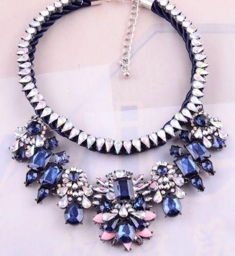 New Design Retro Lady's Blue Mixed Acrylic Bib Statement Necklace Collar XL1490   eBay