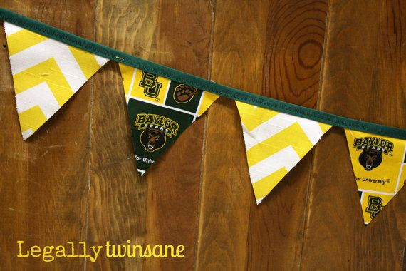 #Baylor fabric bunting banner by LegallyTwinsane, $13.00 // Tailgate, birthday party or baby shower!: Birthday Parties, Baby Sander, Baylor Baby, Baby Shower