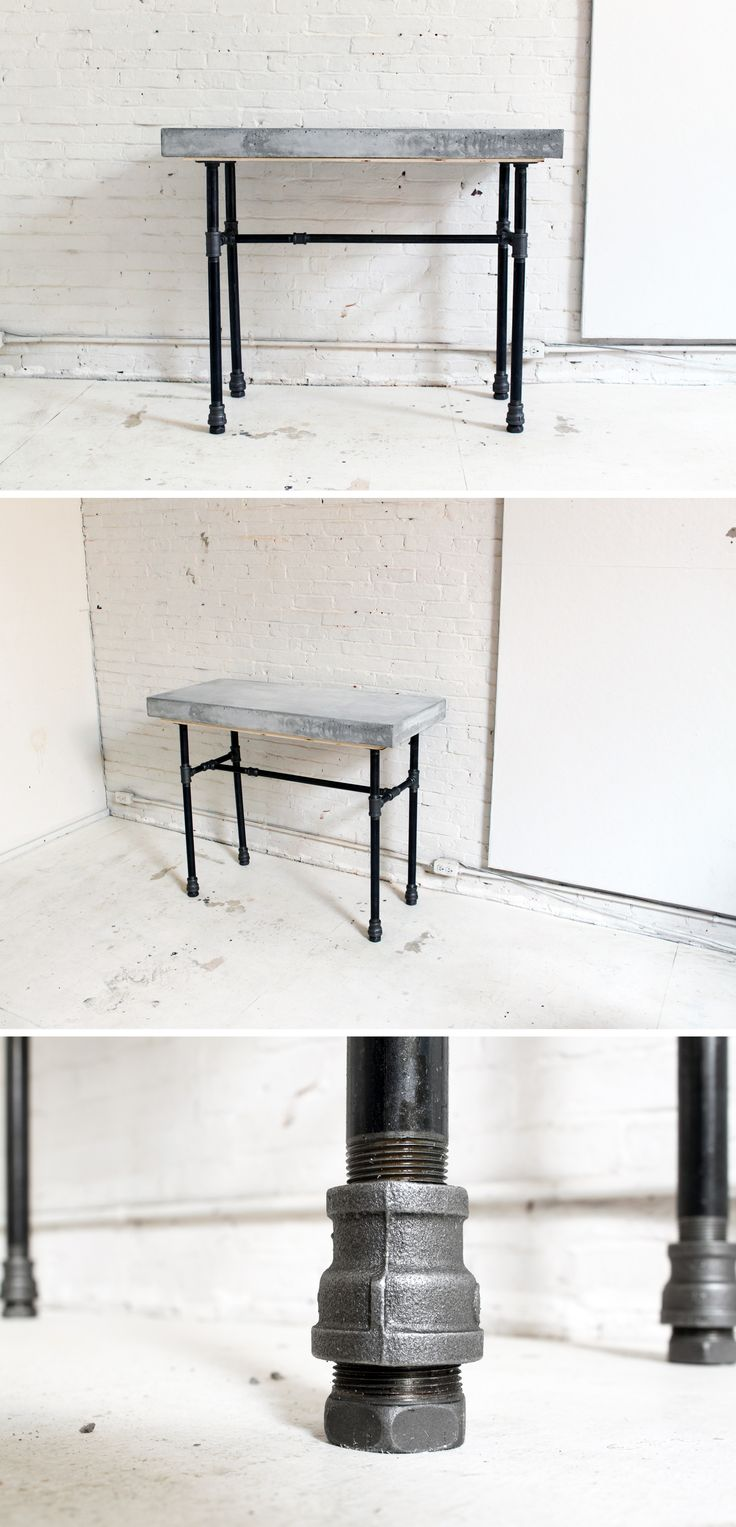 Give your home an industrial flair with this concrete + iron pipe table. Check out the site for instructions: http://www.homemade-modern.com/ep40-concrete-iron-bar-table/