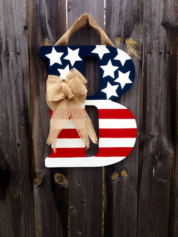 Patriotic Monogram Door Hanger with Burlap Bow- Red, White, & Blue