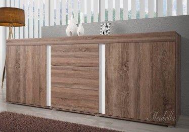 Dressoir Alvarez is een eigentijds en praktisch dressoir. Dit model beschikt over twee deuren en 3 lades. Het meubel is uitgevoerd in truffel eiken met witte details.