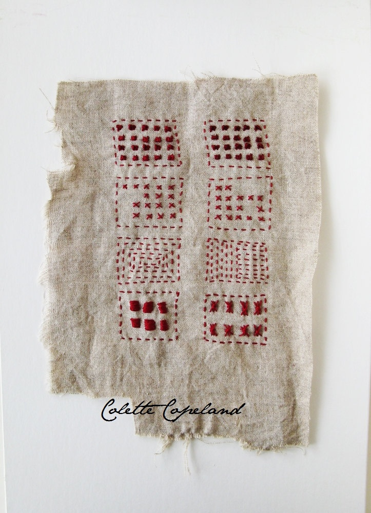 Hand embroidery on vintage linen, Sampler, red thread by Colette Copeland.