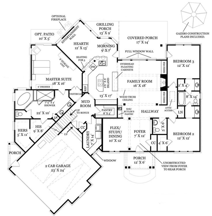 Plan 3877JA: Rustic Angled Ranch Home Plan | Sitting area, Ranch and ...
