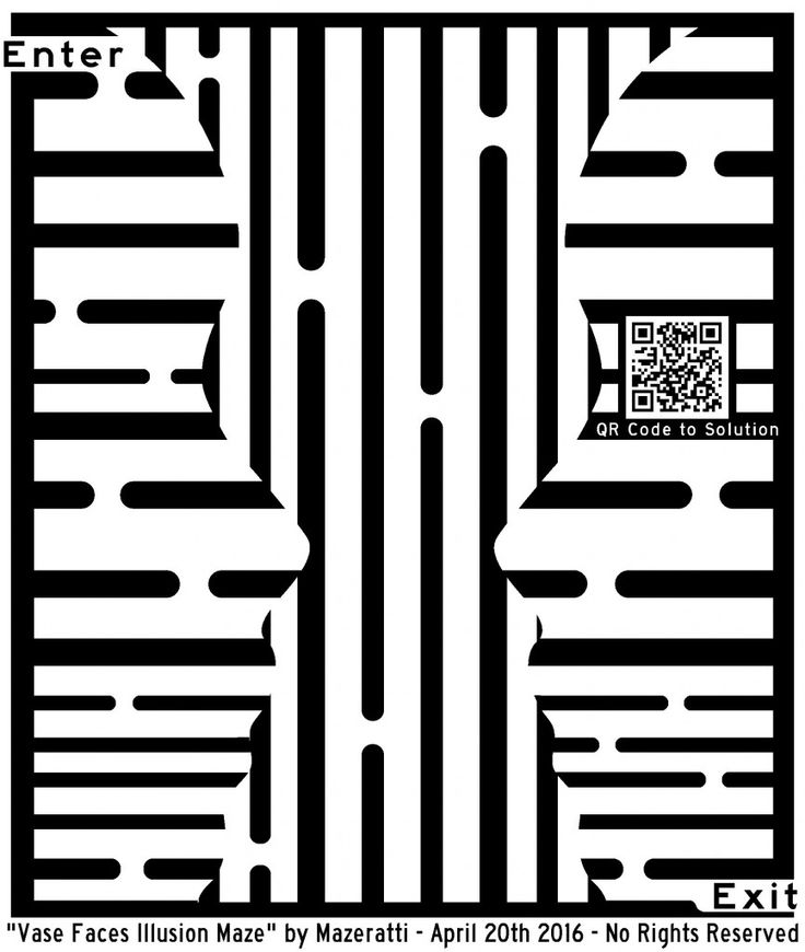 optical illusion maze faces printable illusions mazes vase face