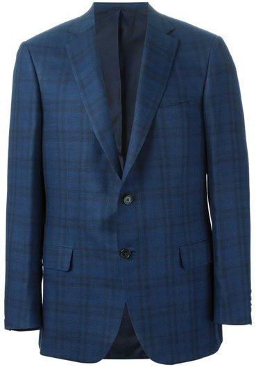 Blue silk-cashmere blend plaid blazer from Brioni.  RG000M/P44EH 0000 2015 Silk 58%