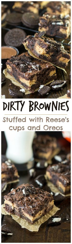 Peanut butter cup stuffed brownies loaded with Oreo pieces! http://Sugarspunrun.com