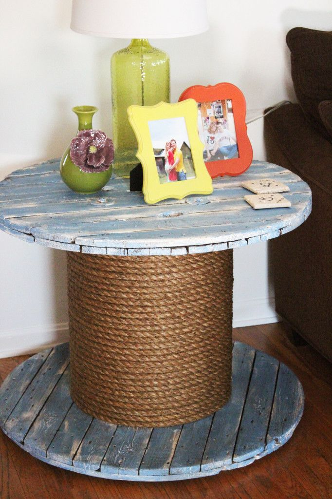 DIY Spool End Table #diy #homedecor #anniesloan