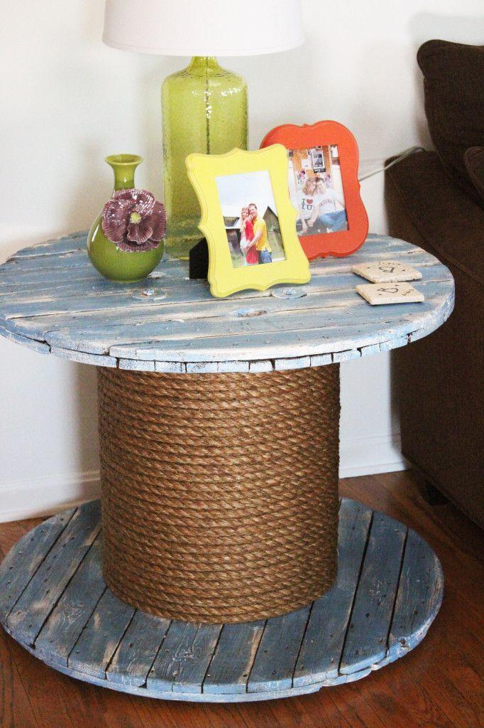 DIY Spool End Table #diy #homedecor #anniesloan