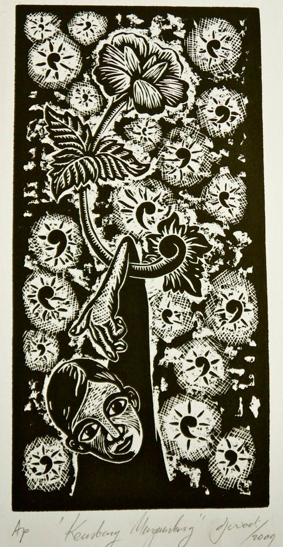 Original unique wood cut print - Floating Flowers  by Djuwadi on Etsy, $25.00 AUD
