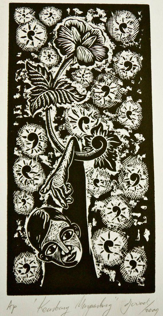Original unique wood cut print - Floating Flowers  by Djuwadi on Etsy, $25.00 AUD