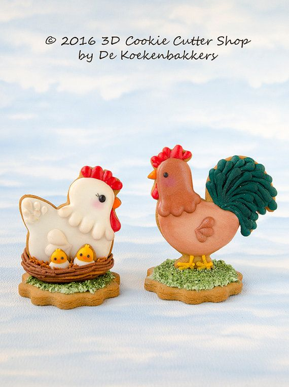 Chicken and Rooster cookies