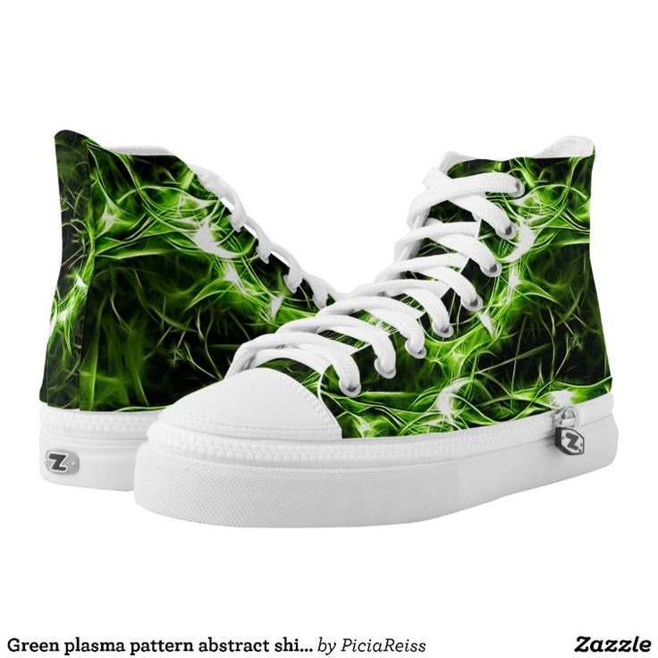 Green plasma pattern abstract shiny splashes printed shoes
