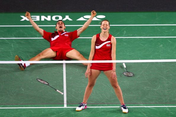 Gabrielle Adcock and Chris Adcock of England celebrate victory in the Mixed Doubles Gold Medal Match against Chris Langridge and Heather Olver of England at Emirates Arena during day eleven of the Glasgow 2014 Commonwealth Games on August 3, 2014 in Glasgow, United Kingdom. (Photo by Alex Livesey/Getty Images)