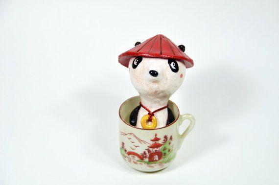 Lucky Panda Figurine Panda in a Mug Teacup Panda by PigAndPumpkin