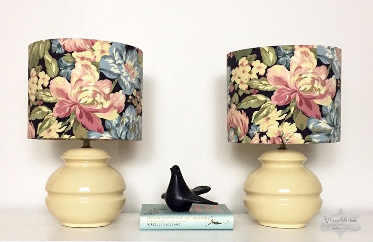 Pair of Vintage Lamps with Peony Lampshades, handmade, bedside lamps, table lamps, cream, beige, blue, pink, black, green, by Vintage66studio on Etsy