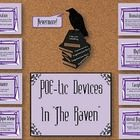 """This colorful bulletin board includes the board heading and cut-outs for 8 poetic devices used in Edgar Allan Poe's The Raven. Included: alliteration; assonance; consonance; cacophony; onomatopoeia;  rhythm; external rhyme scheme; and internal rhyme scheme. Each cut-out shows the device name, definition, and example from the poem in Poe-period font. A raven silhouette; """"Nevermore!"""" dialogue call out; and stack of """"Forgotten Lore"""" cut-out to accent the board are also included."""