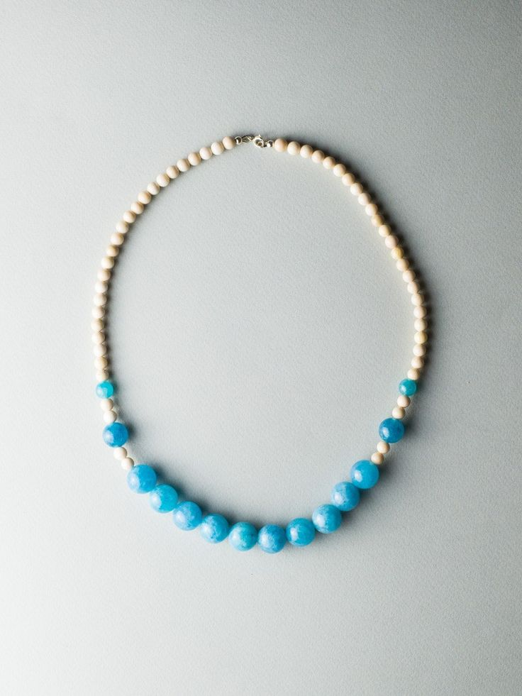 Beige Blue Necklace by Carla Szabo #jewelry #design #necklace