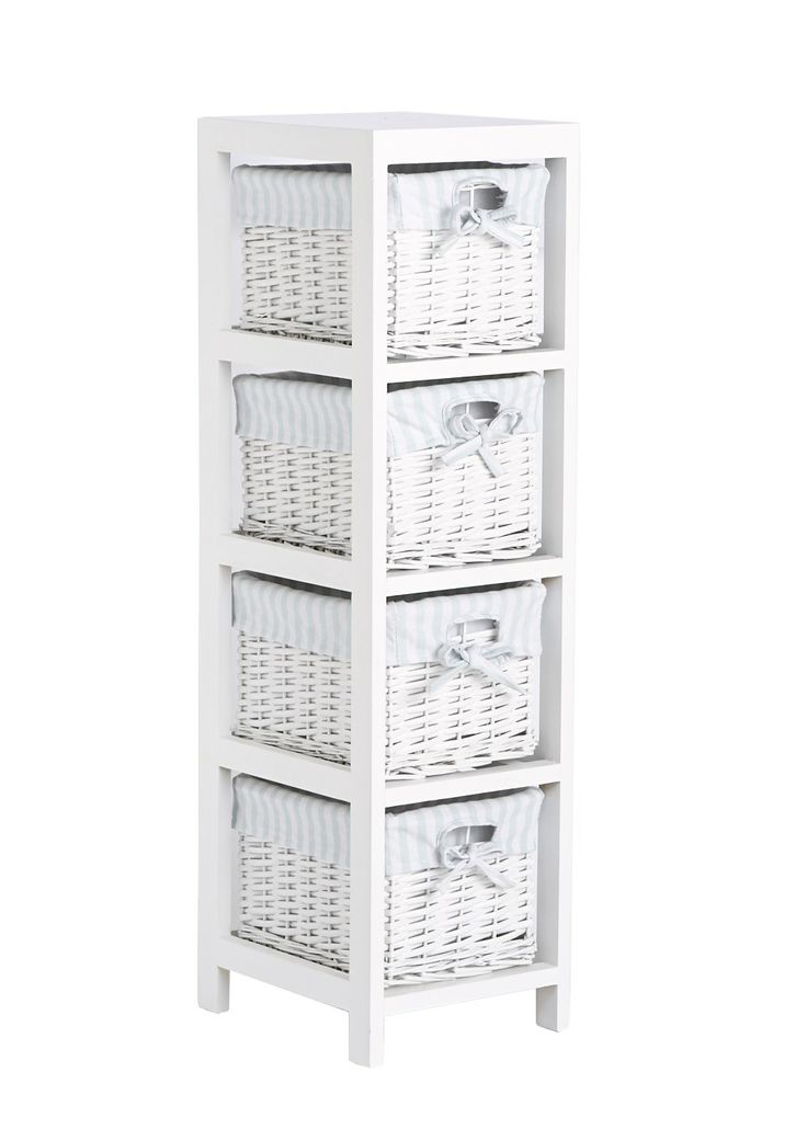 Set Of 4 Split Willow Drawers 91cm X 25cm X 28cm Matalan