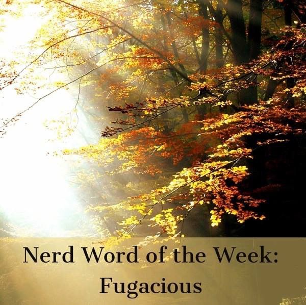 Nerd Word of the Week: Fugacious ~ transient or fleeting. As in: The light danced along the leaves in a dazzling, fugacious display.