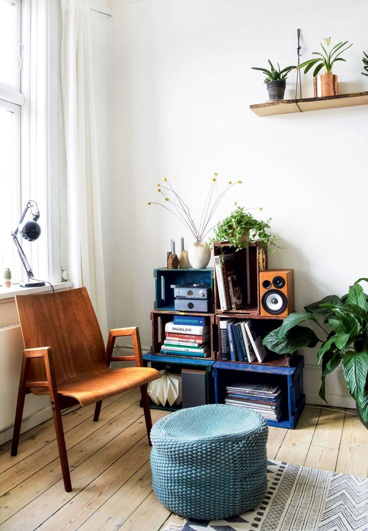 Cool retro-inspired corner with room for a small reading break or music time.
