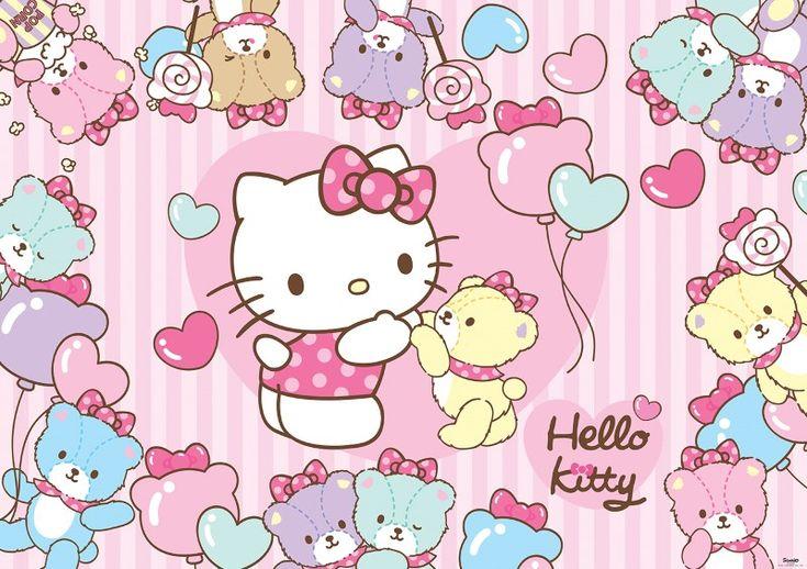 fototapet Hello Kitty and teddybears