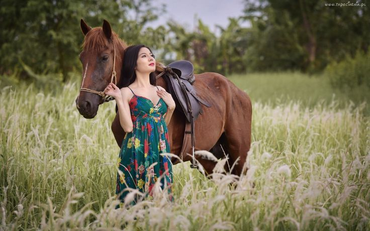 Łąka, Koń, Kobieta