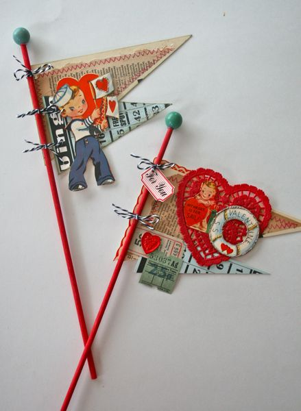 Make vintage valentine pennants out of a retro valentine and ephemera!