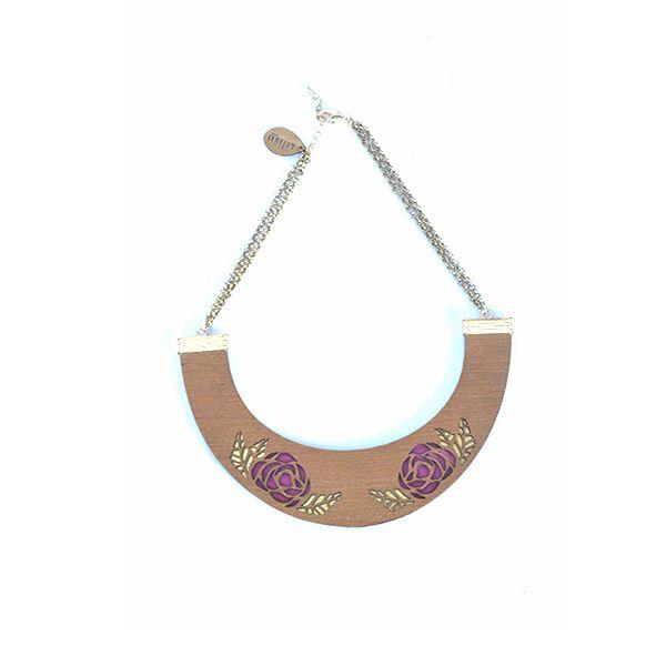 Rose bib (double) - #rachanareddy #wood #woodbib #statementneckpiece #neckpiece #necklace #bib #carved #rosepetals #roses #elegant #stylish #clutch   Shop here: www.rachanareddy.com